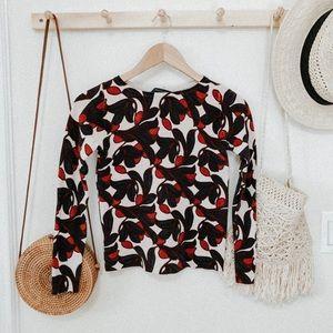 Ann Taylor petite floral knit sweater size XXS